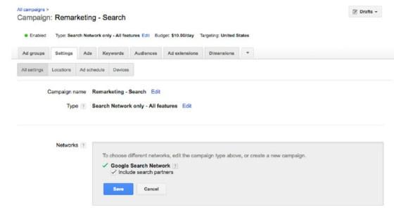 AdWords Google search partners tick box
