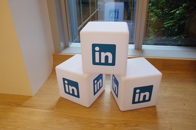 LinkedIn logo printed on cubes.