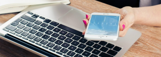 mobile and laptop