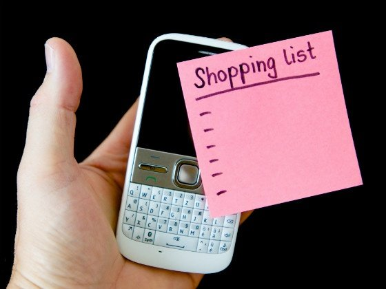 mobile phone and shopping list
