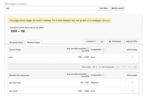 new keyword planner search volume ranges