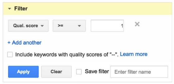 null keyword filter