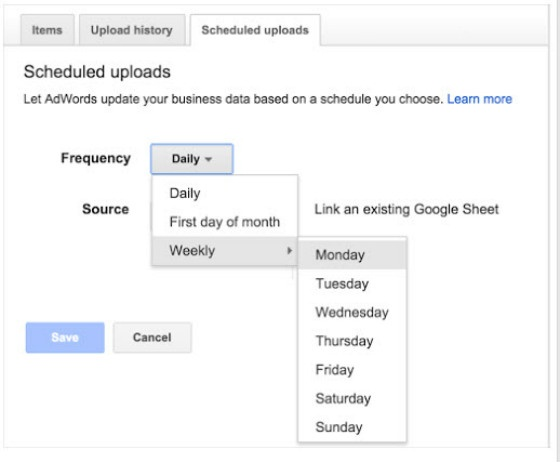 scheduled ad uploads in AdWords