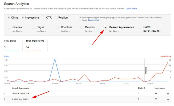 Google Search Console Search Appearance