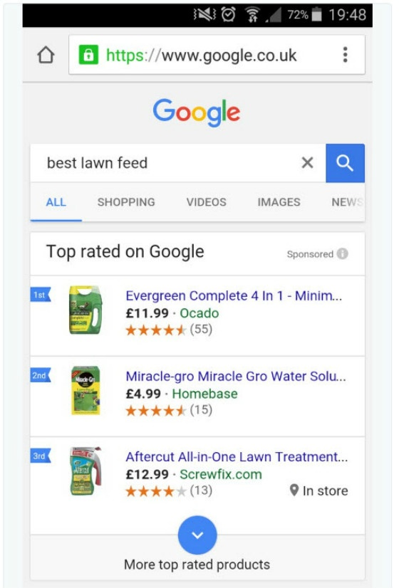 top rated shopping ads on Google