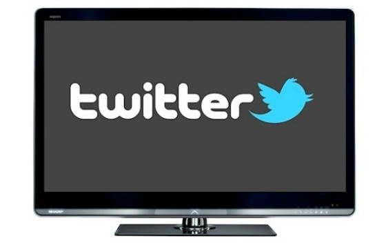 Twitter logo on TV set