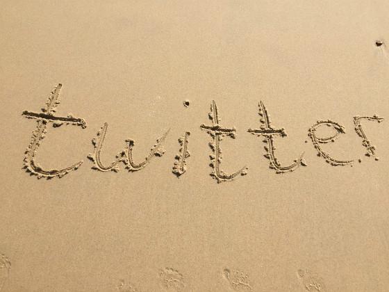 twitter written in sand