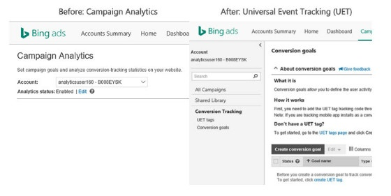changes from Bing Ads Campaign Analytics to UET
