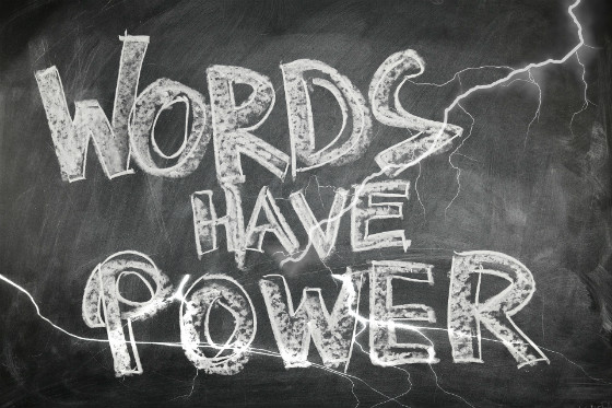 """words have power"" on blackboard"