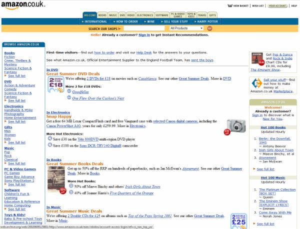 Web Design: How Amazon, Next, John Lewis and Google Used to Look