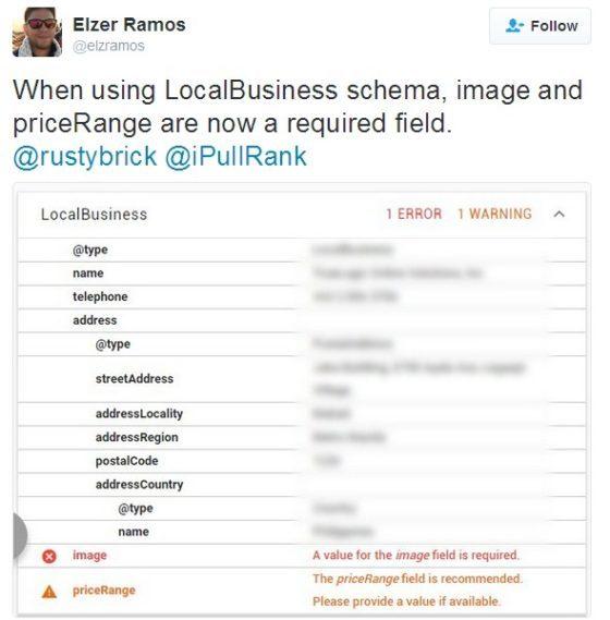 Google Changes LocalBusiness Schema