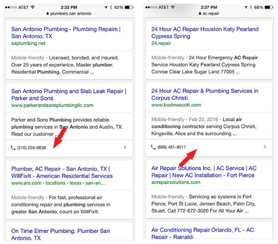 Google Experiments With Click To Call In Organic Results