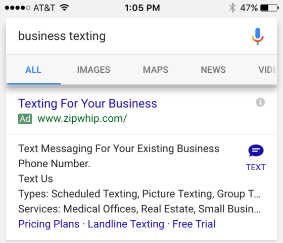 Google AdWords Tests a Click To SMS Ad Extension