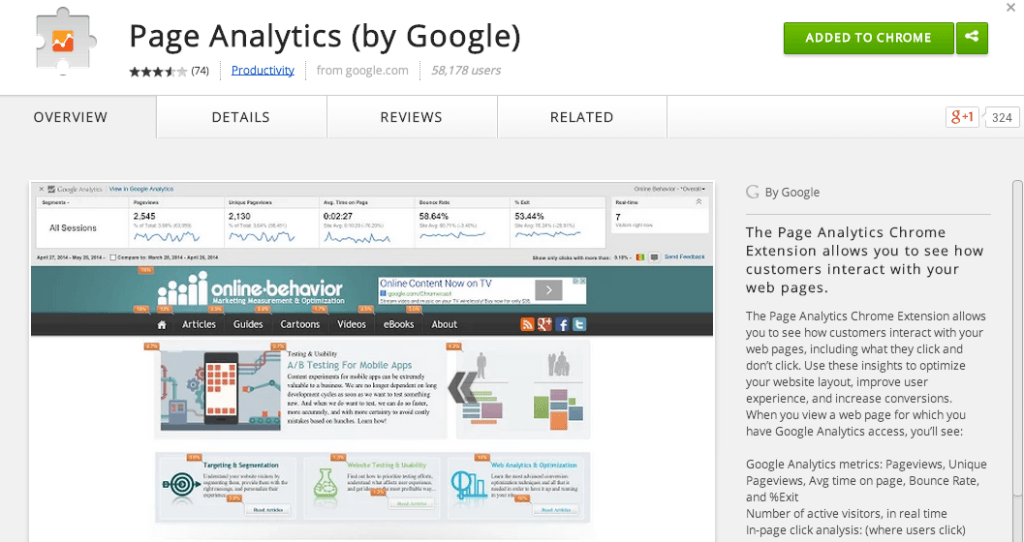 A Review of the In-Page Chrome Extension for Google Analytics
