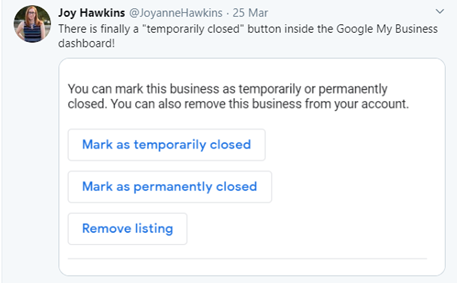 Google My Business launches 'temporarily closed' button